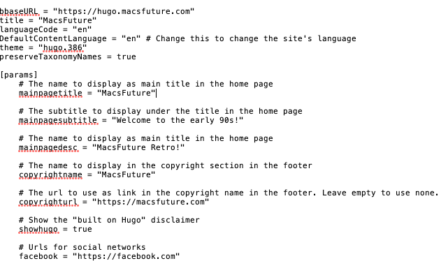 Hugo config file